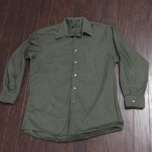DKNY olive green button down shirt